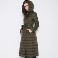 Wholesale Woman s Ultra Light Down Jackets Slim Hooded Extra Long White Duck Down Padded Coats Warm Duck Down Parkas JK