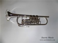 Wholesale Bb Rotary Trumpet Silver plated Finish with ABS case EMS Musical instruments OEM dropshipping
