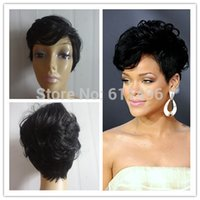 Wholesale Best Seller Vogue Wig Short Black Female Rihanna Wavy Celebrity Hairstyle Fashion amp Charming Style Synthetic Cheap Hair Wigs