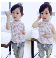 Wholesale Girls sleeveless shirt summer new children s dots color wave collar lace collar Blouses