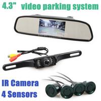 Wholesale Video Parking Radar Sensor DIY Inch Rear View Car Mirror Monitor Kit IR Ccd Car Camera Parking Assistance System