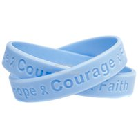 awareness logos - New Arrivel PC Hope Courage and Faith Cancer Awareness Silicone Wristband Debossed Logo Bracelet Colours