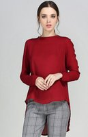 Wholesale Red Chiffon Casual Dresses Long Sleeves Pleated Crew Neck Loose Style Blouses Long Dresses For Women Daily Wear Sweat Shirt