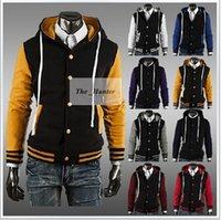 baseballs outerwear jackets - Men Baseball Jacket Fashion Hooded Clothes Sports Leisure Coat Bomber Casual Jackets Men Jogger Sweaters Hoodies Tracksuit Outerwear