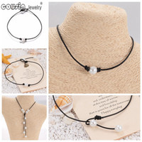 South American american cord - New Pearl Handmade Single simulation Perfect Round Pearl leather necklace on Genuine Leather Cord for Women Pearl Jewelry