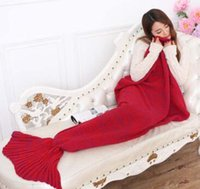 Wholesale Adult Handmade Mermaid Tail Blanket Crochet Mermaid Blankets Mermaid Tail Sleeping Bags Cocoon Mattress Knit Sofa Blankets