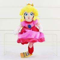 al por mayor princesa peach muñeca de juguete de la materia-La muñeca rellena suave de la felpa del melocotón de princesa Peach de la felpa estupenda juega los 22cm para el regalo de los cabritos Envío libre