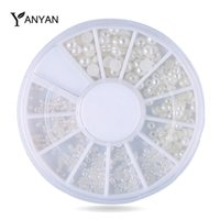 Wholesale D White Pearl Nail Art Rhinestones set sizes Nail Beads Wheel DIY Manicure Nail Decorations