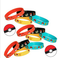 Wholesale Poke go mon Bracelets Pocket Monster silicone wristband Soft Silicone Wrist Straps Kids Children Anime Gifts styles