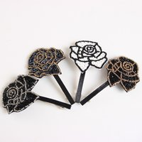 acylic flower - Acylic Particles Made Big Flower Sweet Girl Lady Barrettes Hair Black Clips Headwear Accessories for Women