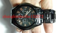 Wholesale Black Ceramic Chronograph Sapphire glass mirror Mens Watch With year warranty logo