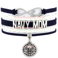 air force custom - Custom Infinity Love Army Wife Navy Mom Bracelet United States Marine Corps Air Force Charm Wrap Adjustable Bracelet Bangels Drop Shipping