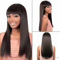 Wholesale Human Hair Wigs Indian Hair Brazilian Hair Malaysian Hair Natural Color Straight Lace Wigs With Hair Bangs Full Front Lace Wigs