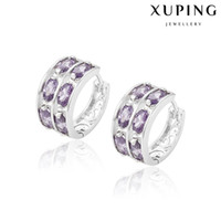 boucles d'oreilles en gros de zircone cubique achat en gros de-Xuping Mix Color Cubic Zirconia Inlay Huggie Femmes Nouvelle Arrivée Qualité Copper Hoop Earrings With Rhodium Plated Wholesale DH-17-10K00