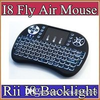 Wholesale Rii I8 Smart Fly Air Mouse Remote Backlight GHz Wireless Bluetooth Keyboard Remote Control Touchpad For Android Box MX3 M8S Black A FS