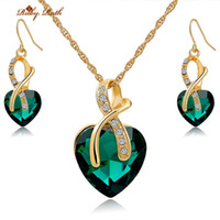 Wholesale Ruby Ruth Jewelry Sets For Women k Gold Plated Crystal Fashion Luxury Heart Necklace Earrings Jewellery Bridal Wedding Accessories Set