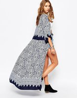 Wholesale Loose clothing sunscreen Clubman kimono chiffon shirt blouses geometric pattern windbreaker jacket