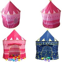 Wholesale Folding Outdoor Princess Palace Castle Kids Children Play Tent Toy Portable Palace Castle Tent blue and pink colors mixed