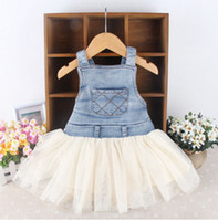 Wholesale Kids Baby Girls Toddler Summer Overalls Denim Frilly Tutu Skirt cute dress vestidos infantis baby girl dresses for birthday party