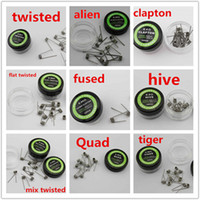 Wholesale Clapton Coils Hive Vaporizer Coil Wire Alien Fused Flat Mix Twisted Tiger Quad Fused Coil Prebuilt Heating Wires Types For RDA RBA