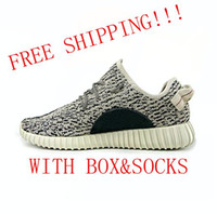 Wholesale High Quality Kanye West Boost Turtle Dove Casual Shoes Breathable Sneakers Man Woman Running Shoes Double Boxes Keychain Socks Bag Receipt