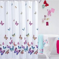 Wholesale Fashion Shower Curtain Waterproof Mildew Proof Bath Curtain of Cute Butterflies Pattern with Hooks Home Bathroom Decoration