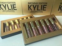 Wholesale 120pcs boxes Metal color lipgloss Cosmetics by Kylie Jenner Limited Birthday Edition Gloss In POPPIN Different Colour lip golss