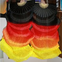 bellydancing fans - high quality Meter HOT fire color colors dyed natural pure real Silk Fan Veils for Bellydancing