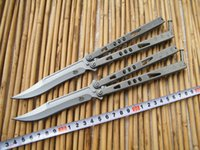 Wholesale The one MicrotechTachyon III Balisong Butterfly Knife C Blade Stonewash Steel handle Tactical knife