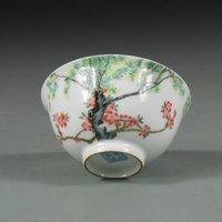 antique ceramic bowl - Antique Color Enamel Chinese Porcelain Bowl with Landscape Patterns Oriental Ceramic Art