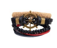 Cheap Infinite Bracelet Fashion Jewelry Wholesale Leather Infinity Charm Bracelet Rudder Wooden Beads Vintage Accessories Gift Free Shipping