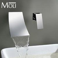 Wholesale Waterfall wall mount bathroom faucet single handle basin mixer tap