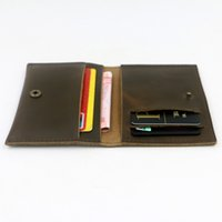 Wholesale unisex long vintage wallet Note Compartment Genuine leather thread hasp card holder simple purse