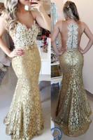 Wholesale Champagne Lace Mermaid Prom Dresses Sexy Sheer Neck Beaded Jewel Neck Floor Length Cheap Evening Party Gowns Custom Made Beaded New Hot