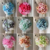 accessories curtains - Artificial Craft Hydrangea Flowers Background Gauze Curtain Clip Bouquets For Wedding Backdrop Decoration Accessories Supplies