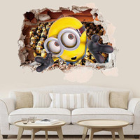 bedroom couches - 3D super wall three dimensional small yellow people adorable eyes creative bedroom bedside couch children room wall stickers