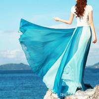 big m block - 2016 new summer beach bohemia vacation holiday silk chiffon color block meters big expansion maxi long skirt high waist ankle length skirt