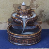Wholesale Creative Ceramic Sandalwood Incense Burner Home Decoration Buddhist Smoke Backflow Censer Porcelain Incense Holder with Free Cones