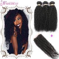 "Cheap Brazilian Curly Virginn Hair With Closure 3Bundles Brazilian Human Hair Bundles With Closure 8""-28""Brazilian Curly Hair Weaves With Closure"