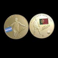 barcelona player - 20 Soccer Foot ball Barcelona Messi Ronaldo souvenir coin gold plated player coin sets