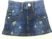 beaded jeans skirts - Girls skirt Factory New short Skirt above Knee Jewelry Inlaid Baby Kids Above Knee Elastic Jeans