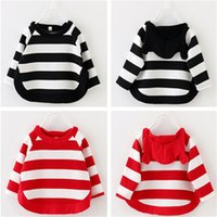 bear ears clothing - Girls Kids Clothing Clothes Cotton Bear Ear Hoodies Stripe Autumn Sprint Knitting Long Sleeve T Shirt Outfits Children Clothing Colors