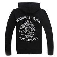 angeles jean - Mens Robin Jeans Hoodie Sweatshirt ROBIN S JEAN LOS ANGELES Cardigan Hoody Men s Hip Hop Eagle Wings Print Casual Cotton US Size M XL