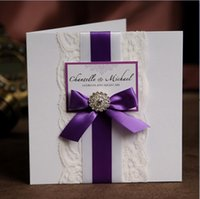Wholesale Purple Ribbon Free Personalized Customized Printing Lace Wedding Invitations Cards NK RSVP and photo print included free shippin
