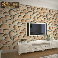 background images paper - 3D stereo TV personality pebbles bar wallpaper image wall background wallpaper restaurant antique stone wallpaper