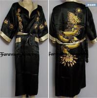 Wholesale M XL Sexy Men s The new double sided embroidery Dragon pajamas nightgown Japanese Silk Kimono Robe Pajamas Nightdress Sleepwear