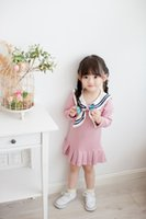 beach college - ins infant baby girls dresses autumn children s Girls College bow dress baby girl cotton dresses