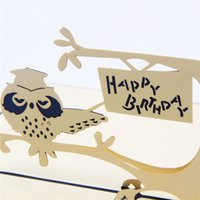 achat en gros de carte-cadeau 3d faite à la main-10pcs / lot Exquisite Laser Cut Invitations de mariage 3D Pop UP Card Creative Owl Handmade Birthday GiftGreeting Cards