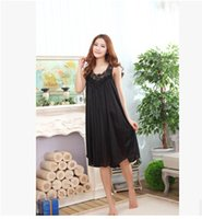 Wholesale Summer sexy long silk nightgowns nightdress for women plus size ladies lingerie maternity sleepwear pregnant nightwear robes