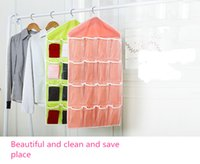 bamboo folding door - HOT SALES Folding Grid Storage Box Socks Toy Underwear Sorting Storage Bag Door Wall Hanging Closet Organizer Multifunction